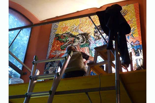Il mosaico di Borgonzoni rivive in municipio