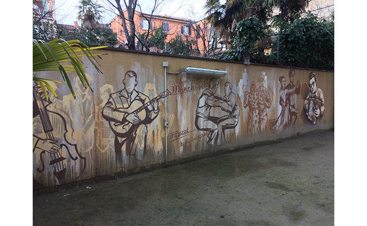 La copertina del libro di Bacchilega Editore sulla polka chinata ispira un murale a Bologna