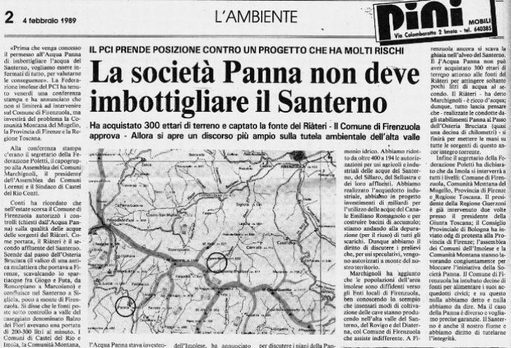 """Speciale acqua, storia di una battaglia dimenticata: evitare che il Santerno venisse """"imbottigliato'"""