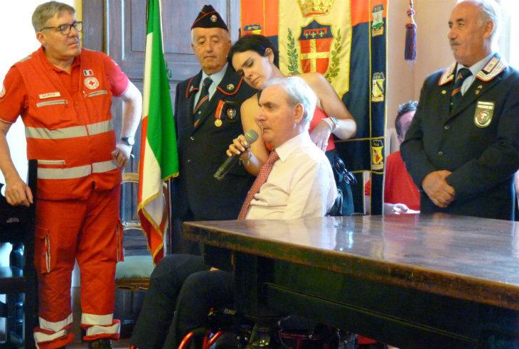 Medicina, ricevuto in Municipio il maresciallo Giangrande, ferito a palazzo Chigi e medaglia d'oro al valor civile