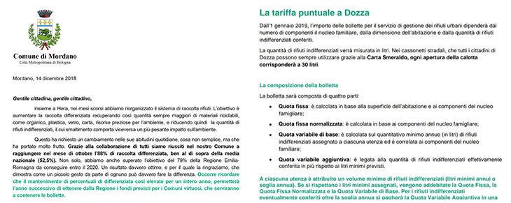 A Dozza e Mordano in arrivo le lettere che spiegano la tariffa puntuale: contano le aperture dall'indifferenziata