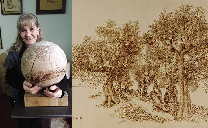Silvana Bissoli, l'artista imolese che incide ulivi sul legno