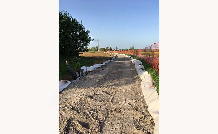 Lavori in corso ad Ozzano per ciclabile e marciapiede in via Palazzo Bianchetti