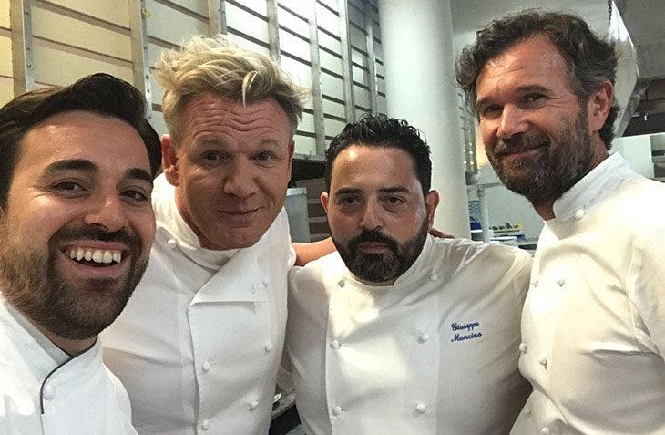 Massimiliano Mascia del San Domenico cucina per beneficenza con Gordon Ramsay e Carlo Cracco