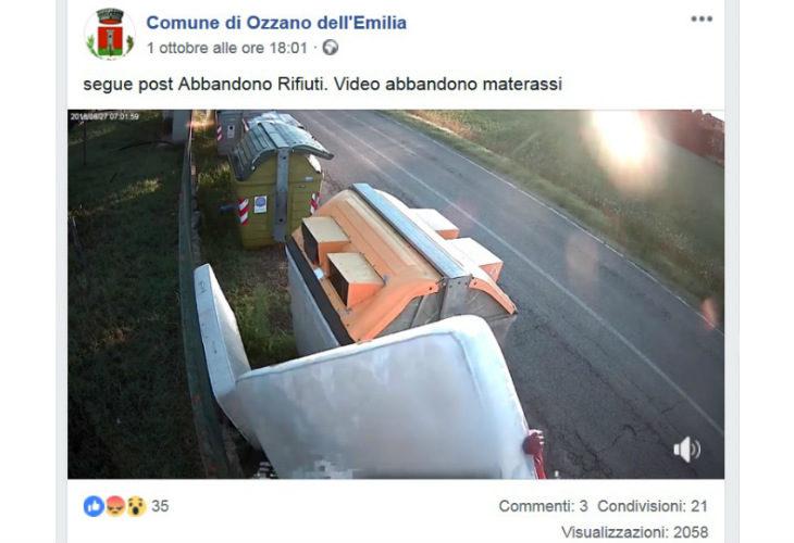 Ozzano, le telecamere riprendono chi lascia i rifiuti fuori dai cassonetti e il Comune mette i filmati su Facebook