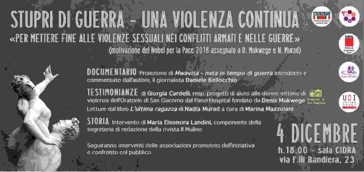 Il dramma degli stupri come arma di guerra: il 4 dicembre a Imola un documentario di Daniele Bellocchio