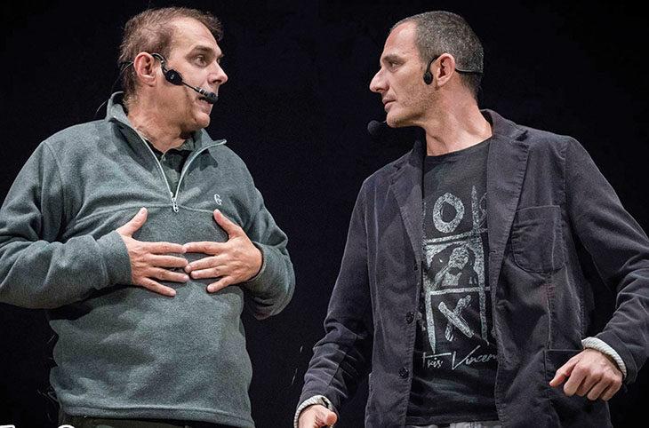 Davide Dalfiume e Marco Dondarini in scena a Dozza spiegano che «la comicità è una cosa seria»