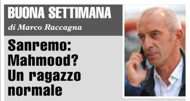 """Buona Settimana di Marco Raccagna: """"Sanremo: Mahmood? Un ragazzo normale'"""