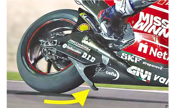 Motomondiale, lo spoiler contestato della Ducati ha messo in risalto il logo della Cefla
