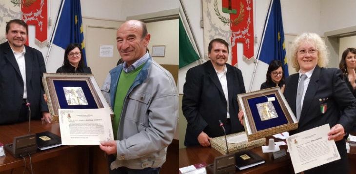 """Il premio """"La Torre' del Comune di Ozzano alla campionessa Paola Tattini e al volontario Santolo Marzulli"""