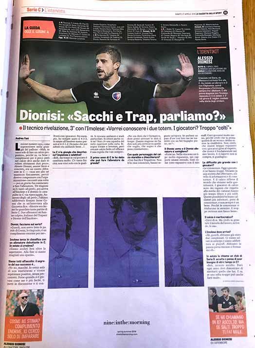 Serie C: Sacchi, Trap e Cosmi. Dionisi e l'Imolese giocano sulle pagine della Gazzetta dello Sport