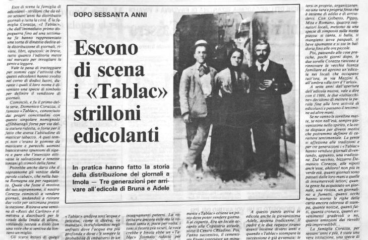 Dal primo dopoguerra al 1986 la storia dei Tablàc, da strilloni a edicolanti a Imola in piazza delle Erbe