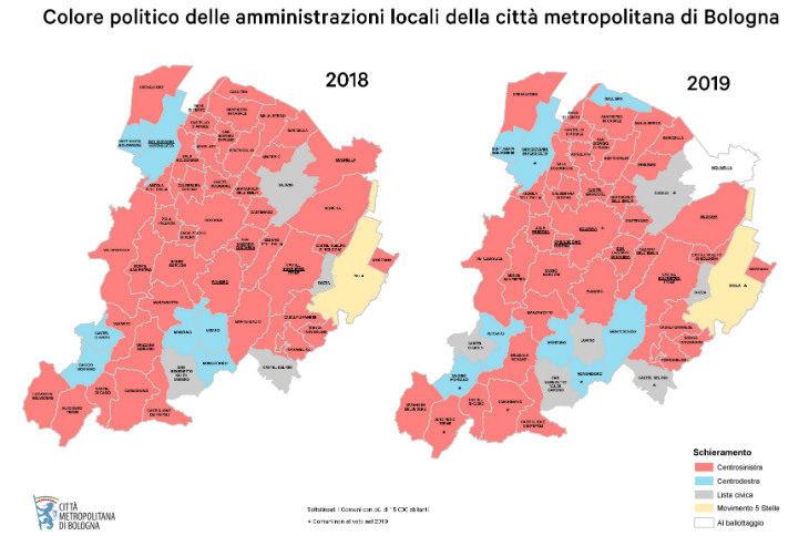 """Speciale Comunali 2019, poche Amministrazioni hanno """"cambiato colore' nel territorio della Città metropolitana"""