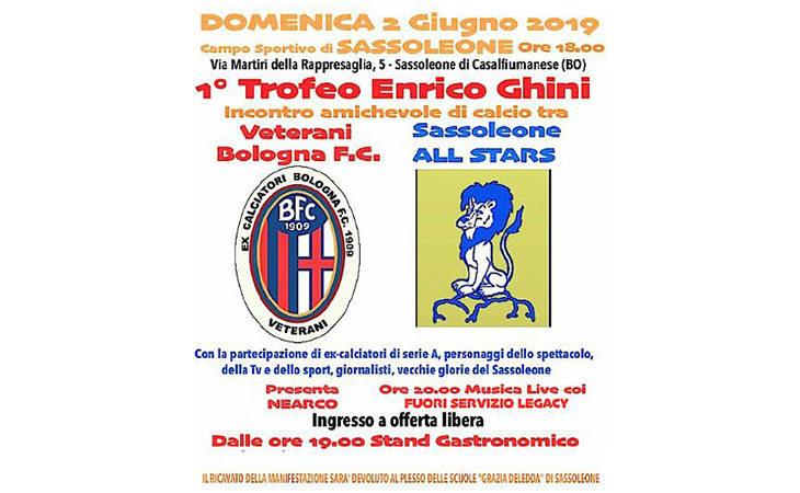 A Sassoleone il 1° Trofeo Enrico Ghini di calcio, in campo anche ex campioni del Bologna