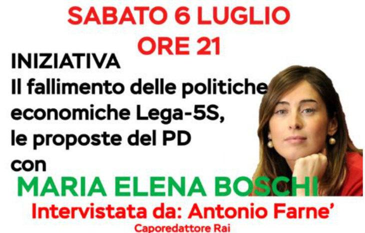 Alla Festa del Pd le politiche economiche del Governo al centro dell'iniziativa con Maria Elena Boschi