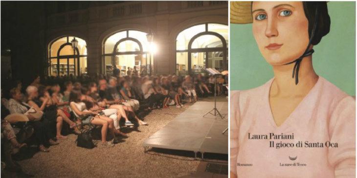 """Per """"Il gioco di Santa Oca' di Laura Pariani presentazione nel giardino della biblioteca di Imola"""