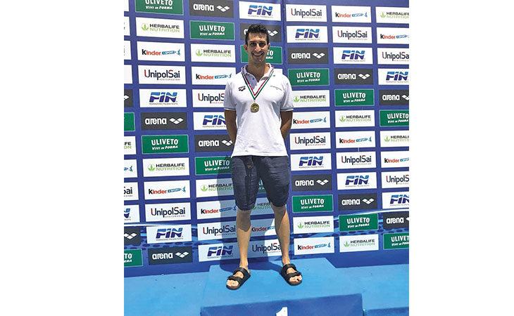 Nuoto Master, ai campionati italiani doppio oro per Davide Domenichini