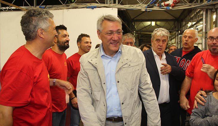 Apertura con il segretario generale nazionale Maurizio Landini per la festa della Cgil al centro sociale La Tozzona