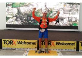 La gioia del runner Mauro Abbate per aver concluso l'edizione 2019 del Tor des Geants