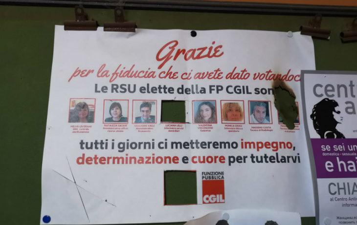 «Atto intimidatorio contro le Rsu della Cgil Fp», la denuncia del sindacato per un manifesto oggetto di atti vandalici