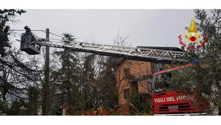 Maltempo, numerosi gli interventi dei vigili del fuoco. A Castello un albero è caduto sui cavi della luce