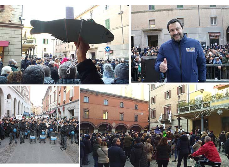 """Salvini fa il comizio a Imola davanti ai sostenitori, attorno """"sardine' e cittadini lo contestano. Il racconto"""