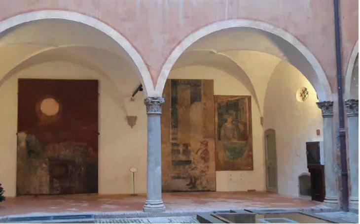 """Restauro senza """"sorprese' della «Loggia degli Strappi» nel cortile interno della Rocca di Dozza"""