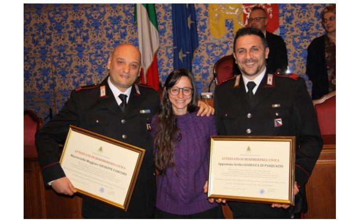 Benemerenza ai carabinieri Carcuro e Di Pasquazio che hanno salvato la vita alla castellana Fulvia Lionetti