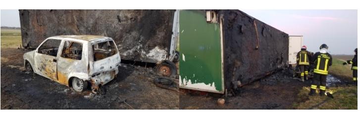 Auto in fiamme in un campo a Medicina, bruciato anche il container dell'associazione Acme