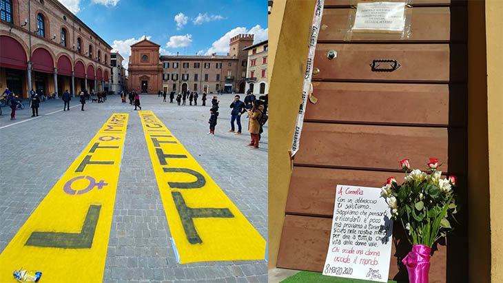 Immagini dell'8 Marzo 2020 in piazza Matteotti a Imola, dopo l'ennesimo femminicidio