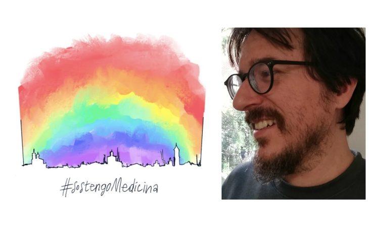 Un arcobaleno sopra il suo paese, l'immagine e l'augurio dell'artista medicinese Enrico Montalbani (3Ko)