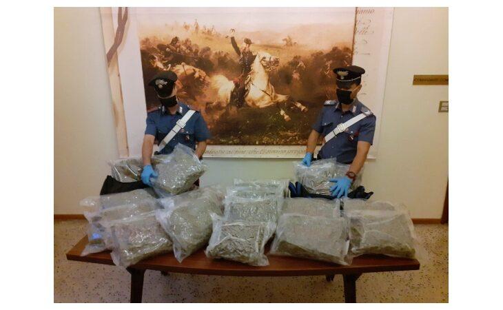 Carabinieri trovano auto con 21 kg di marijuana, denunciato ma irreperibile il proprietario