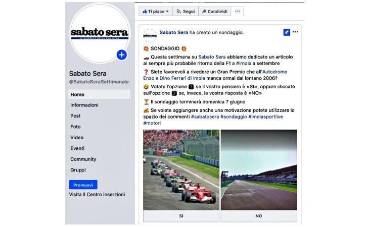 Gp di Formula 1 a Imola, c'è tempo fino a oggi per votare il sondaggio sul profilo Facebook di «sabato sera»