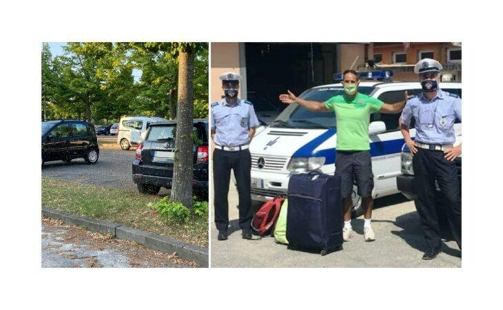 Polizia locale di Castello interviene per uno sciame di api impazzito e ritrova i bagagli rubati a una famiglia svizzera