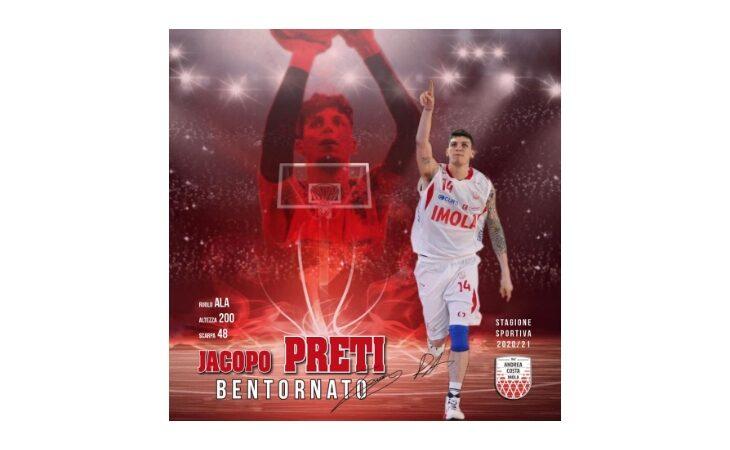 Basket, primo acquisto per l'Andrea Costa: ufficiale il ritorno di Jacopo Preti