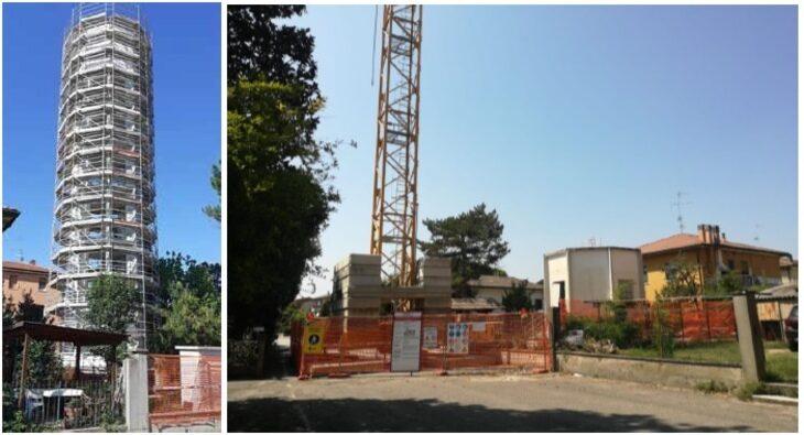 Si concluderà entro il mese l'intervento di demolizione «a pezzi» del vecchio acquedotto di Sasso Morelli