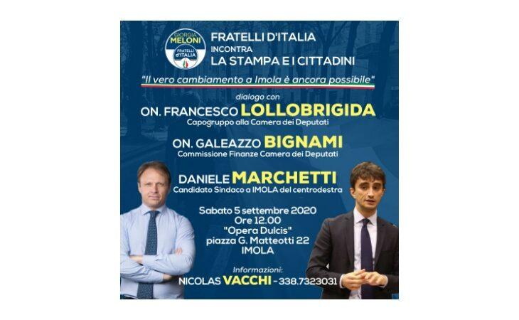 #Imola2020, Fratelli d'Italia e il candidato Daniele Marchetti portano in città gli onorevoli Lollobrigida e Bignami
