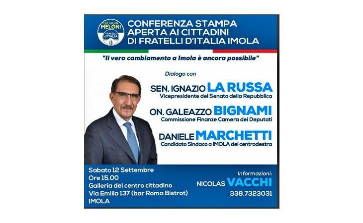 #Imola2020, il senatore Ignazio La Russa in città per sostenere la campagna elettorale di Daniele Marchetti