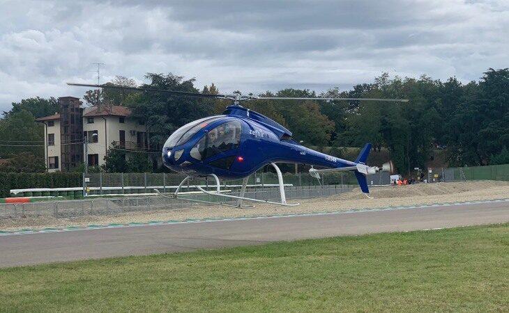 Anche «sabato sera» in volo sull'elicottero Zefhir di Curti in occasione dei Mondiali di ciclismo