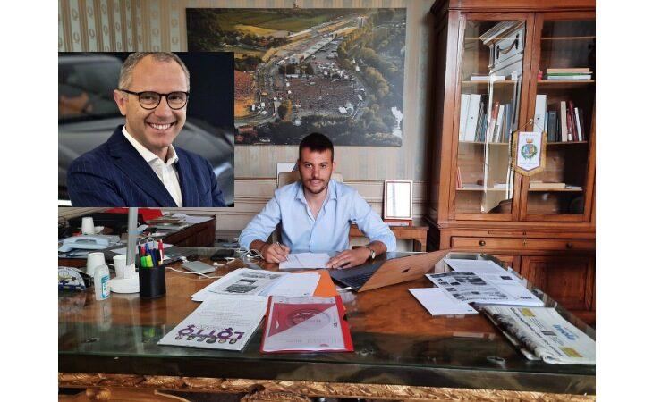 Il sindaco di Imola Marco Panieri si congratula con Stefano Domenicali per il nuovo ruolo in F.1