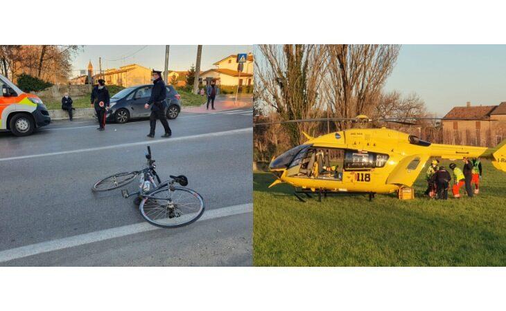 Ciclista investita da un'auto in via Fluno a Bubano, trasportata in elisoccorso al Bufalini