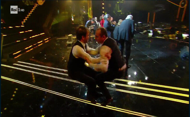 La polka chinata degli ozzanesi Antonio Clemente e Loris Brini sul palco del Festival di Sanremo