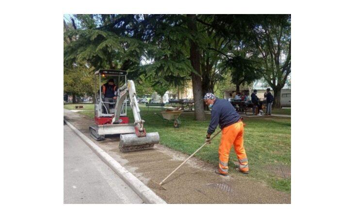 Riqualificazione della città di Imola, lavori in corso al giardino «Barnabè»