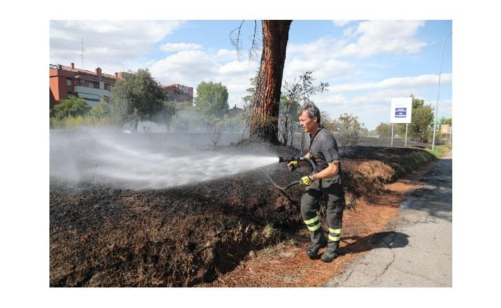 Incendio sulla Montanara, in fiamme campo di sterpaglie