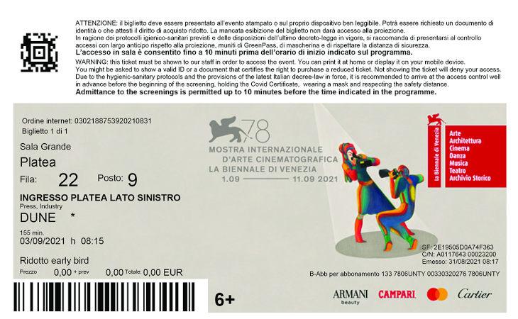 Alla Mostra del cinema di Venezia si entra con i biglietti «castellani»